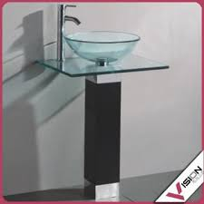 bathroom vanities wood pedestal glass vessel sink combo