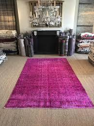 pink turkish rug overdyed carpet in large size short shaved pile rug oriental design reloaded in magenta pink
