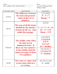 Mean Median Mode Range Examples Worksheets for all | Download and ...