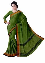 Narayanpet Designer Sarees Parrot Green Narayanpet Plain Cotton Saree With Blouse