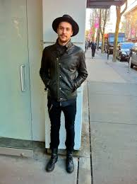 all saints boots comune jeans sel leather jacket goorin bros hat all saints cardigan sel black gold shirt
