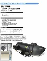 Eco Flo Products Efswj7p Shallow Water Well Jet Pump 3 4 Hp 14 1 Gpm