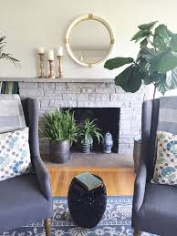 Painted Stone Fireplace Makeover