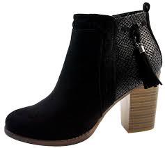 womens wooden block heel chelsea ankle boots faux