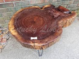 custom made live edge coffee table round table tree slice log table