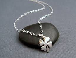 silver four leaf clover good luck necklace good luck necklaces