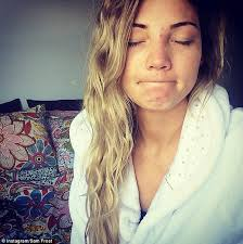 sam frost posts makeup free selfie as she wakes up to blemished