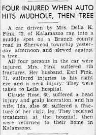 Earl and Della Fink auto accident May 1953 in Battle Creek ...