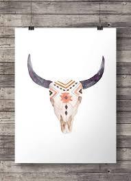 Watercolor Aztec <b>tribal</b> Bull Cow <b>Skull</b> - Printable southwestern ...