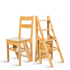 natural bamboo multi functional four step library ladder chair bamboo furniture ladder stool cottage