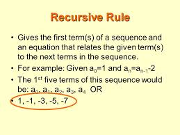 recursive rule gives the first term s of a sequence and an equation that