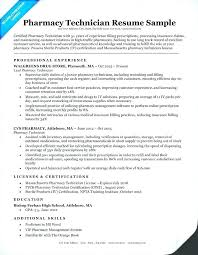 Resume Examples For Pharmacy Technician New Pharmacy Technician Resume Sample Tech Certified Mmventuresco