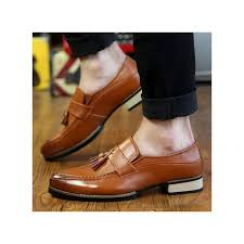 men s genuine leather formal shoes business casual shoes slip on brown