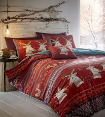 flannelette duvet set folklore superking red