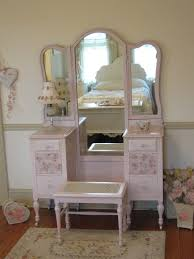beautiful pink antique vanity with tri fold mirror and cane bench forever pink cottage chic forever pink cottage chic