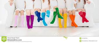 Kids With Colorful Socks. Children Footwear. Stock Image - Image of ...