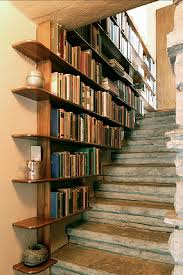 Picture Of Contemporary Bookcase Stairs Design Idea With Wooden Frame And  Pretty Decorative Items (Photo