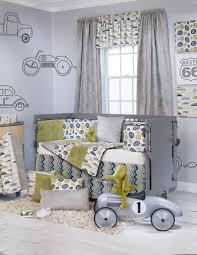 using rectangular grey wood baby crib including light grey green vintage baby bedding crib set and light blue grey zigzag baby bed valance image
