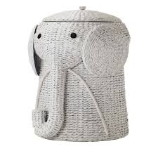 Elephant Wicker Laundry Basket Nursery Toys Home White - GoGetGlam - 2