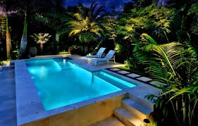 pool landscape lighting ideas. view in gallery backyard with an illuminated pool and tropical foliage landscape lighting ideas n
