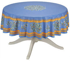 umbrella hole round outdoor tablecloth 60 inches olives branches in blue