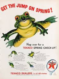 1954 Texaco Gasoline Get The Spring Jump Hopping Frog