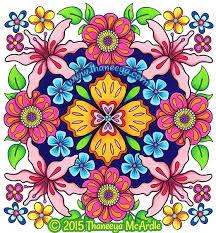 flower mandalas coloring book page by thaneeya