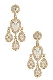 image of nadri cz pave framed chandelier earrings