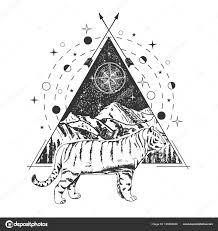 Tiger Geometric Tattoo Vector Creative Geometric Tiger Tattoo Art