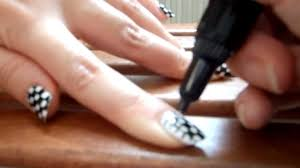 black and white checkered nails using migi nail art pens - YouTube