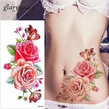 Glaryyears 1 лист слепить розу пион цветок татуировки временные наклейки акварельные