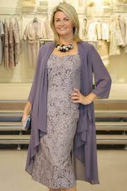 Elegant <b>Mother Of</b> The Bride Dress <b>Gray</b> Lace With <b>Chiffon</b> Jacket ...