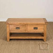 heritage rustic oak large coffee table with 2 drawers and shelf tables am