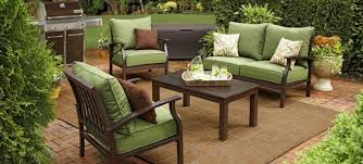 Green Patio Furniture Design Ideas With Stone Pavers And Outdoor Furniture  Also Wooden Coffee Table For