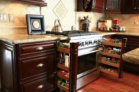 Custom Kitchen Cabinets With Pull Out Spice Racks.