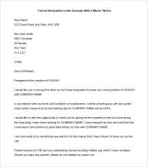 Two Week Resignation Letter Amazing Formal Resignation Letter With Weeks Notice Template Two Weeks
