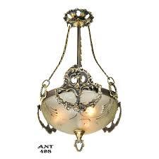 antique edwardian ceiling bowl pendant light fixture circa