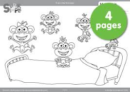 Small Picture Free Five Little Monkeys Coloring Pages from Super Simple Learning
