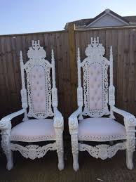 his hers king queen white throne chairs 120 red flower ball with vase 9 covers 50p hire