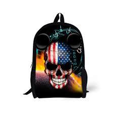 punk skull kids backpack for 6 13 year old boys rock style shoulder book bags children back pack kids mochila bag gifts
