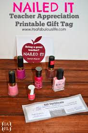 teacher appreciation week quick easy gift ideas teacher appreciation gift tag to attach to nail polish or a salon gift