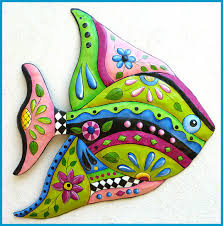 hand painted metal tropical fish wall decor on whimsical metal fish wall art with tropical fish metal art metal wall art tropical decor tropical