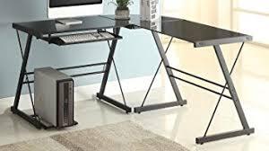glass office table. Naomi Home 3 Piece Sedalia Glass Office Desk, Black Table A