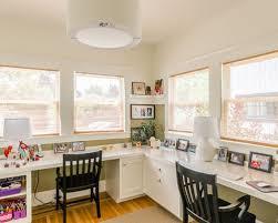 dual office desk. Example Of A Classic Builtin Desk Medium Tone Wood Floor Home Office Design In Dual