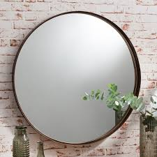 harper large metal round wall mirror bronze clearance