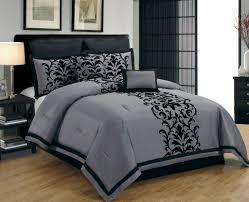 Queen Bedroom Suit 12 Piece King Dawson Black And Gray Bed In A Bag W 500tc Cotton