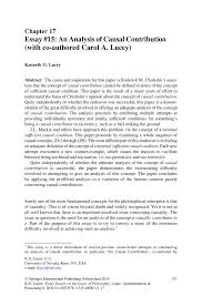 essay on philosophy essay an analysis of causal contribution co  essay an analysis of causal contribution co authored inside