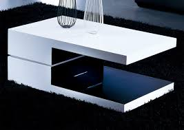 white and black rectangular high gloss contemporary coffee table