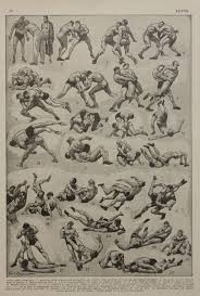 Wrestling Moves Chart 1948 Paris Book Print French Encyclopedia Scientific Mens