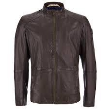 boss orange men s jermon leather biker jacket brown image 1